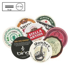 "3.5"" Circle Medium Weight (70 Point) Pulpboard Coaster w/4 Color Process"